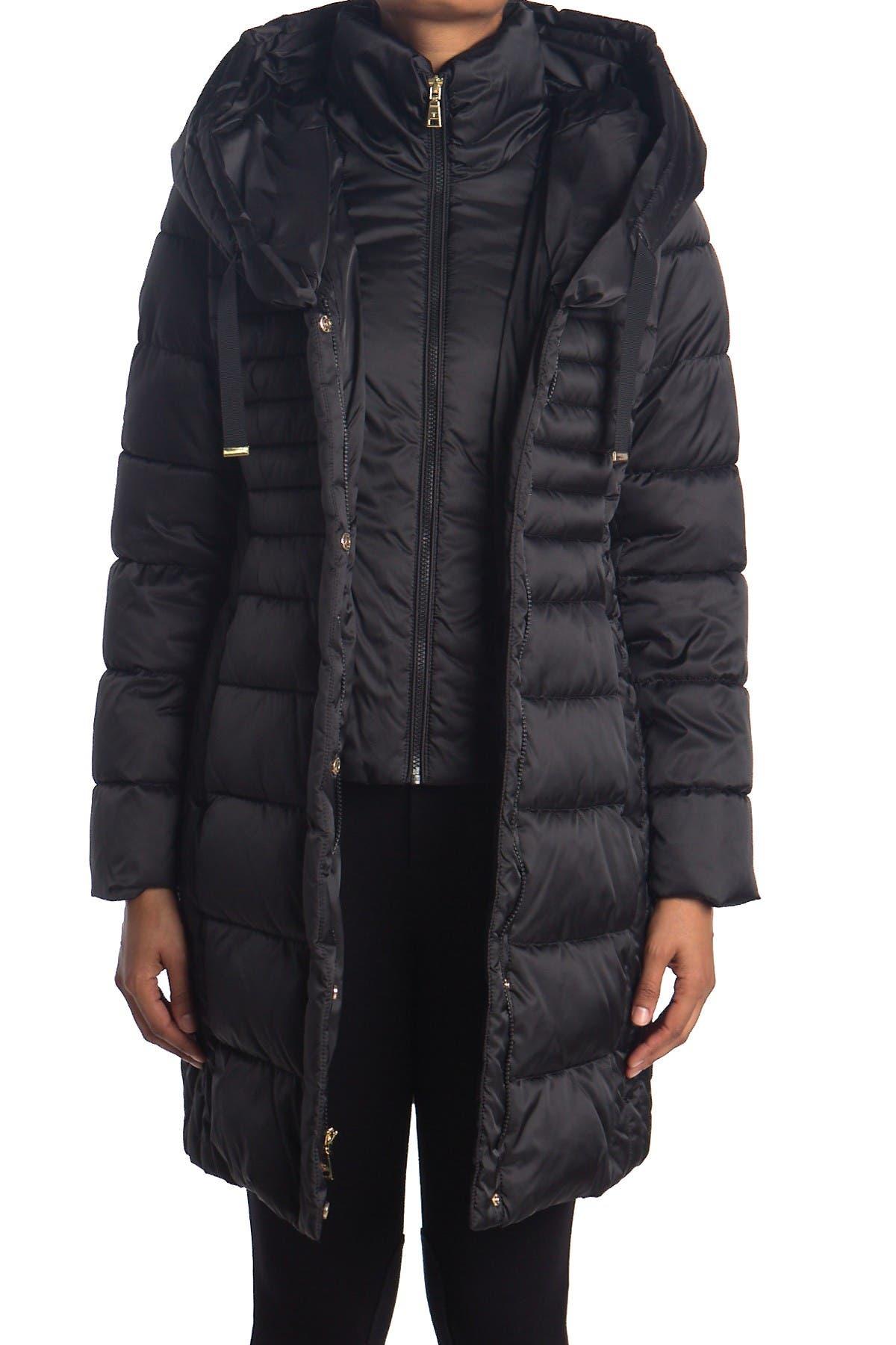 Tahari Hooded Bib Quilted Long Puffer Jacket