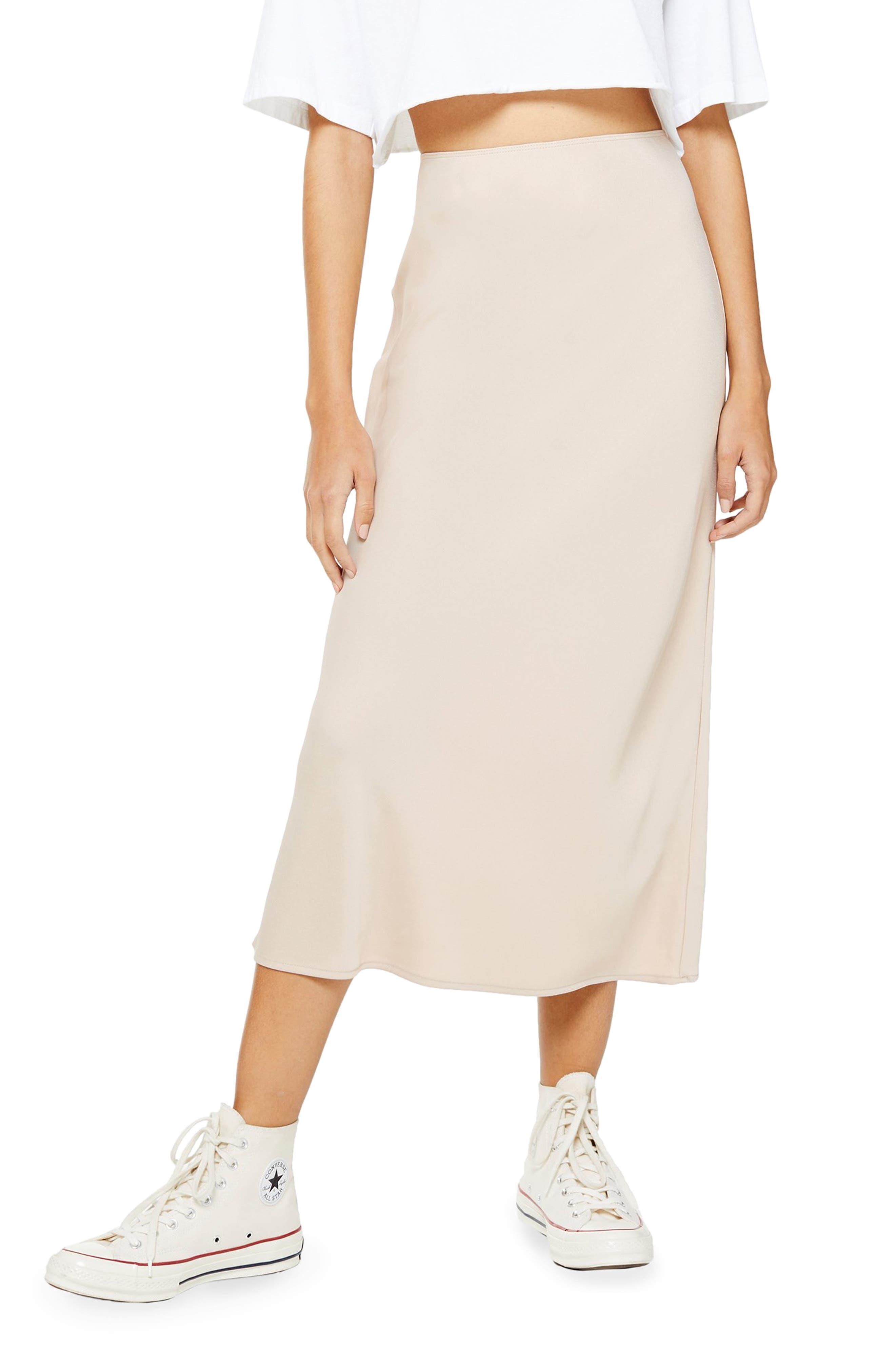 Topshop Matte Satin Bias Cut Skirt