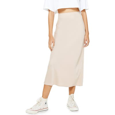 Topshop Matte Satin Bias Cut Skirt, US (fits like 0) - Beige