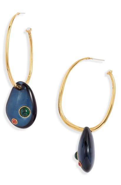 Lizzie Fortunato Puddle Hoop Earrings In Gold/ Midnight