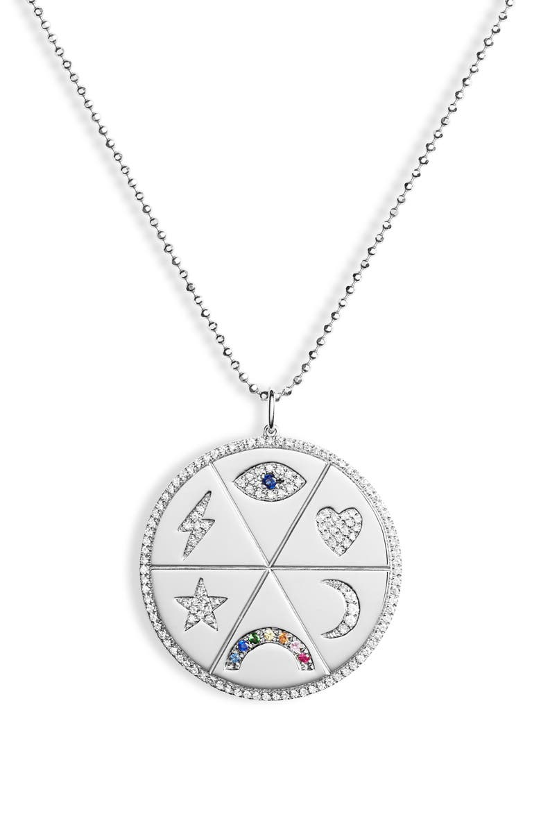 EF COLLECTION All the Feels Diamond Pendant Necklace, Main, color, WHITE GOLD