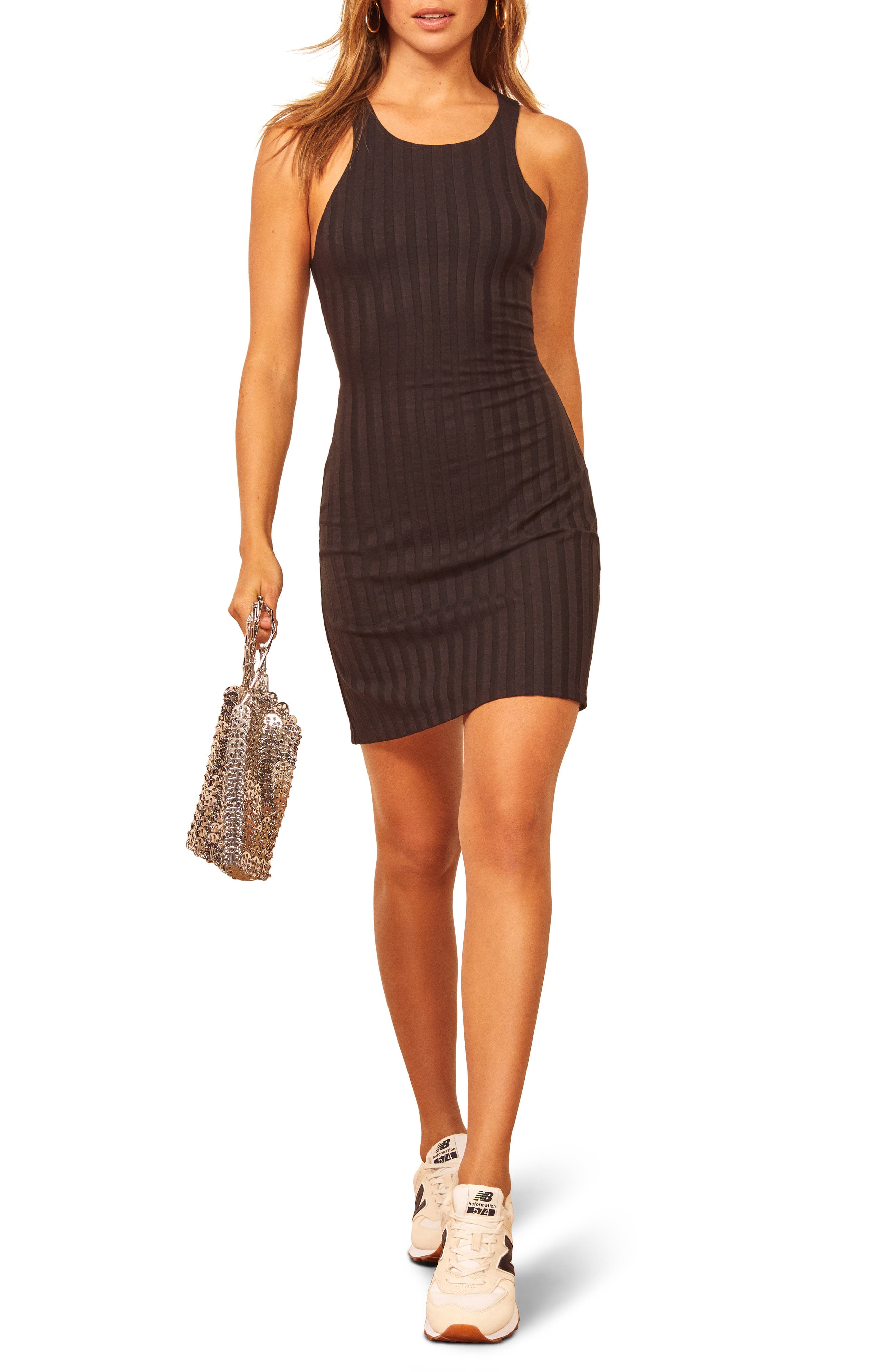 Date night is calling in this shapely body-con textured with wide ribbing. Style Name: Reformation Mel Ribbed Body-Con Minidress. Style Number: 6054613. Available in stores.