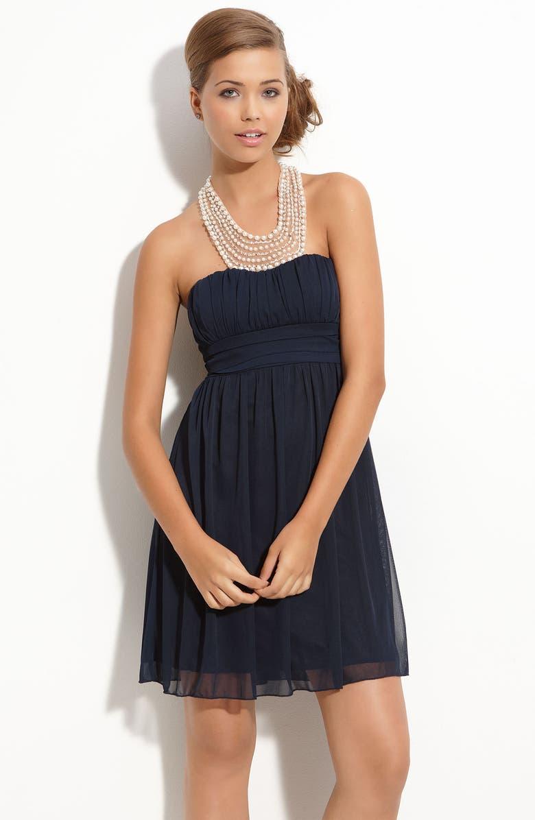 WAY-IN Pearl Neckline Halter Dress, Main, color, 410