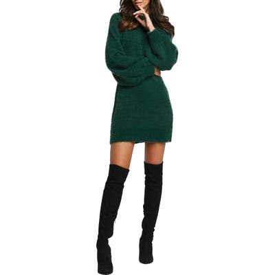 Bardot Long Sleeve Sweater Dress, Green