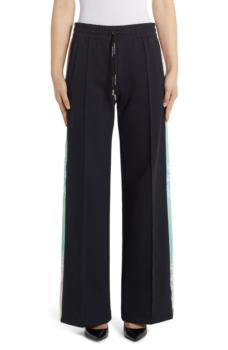 OFF-WHITE Wide Leg Jersey Track Pants, Main, color, BLACK