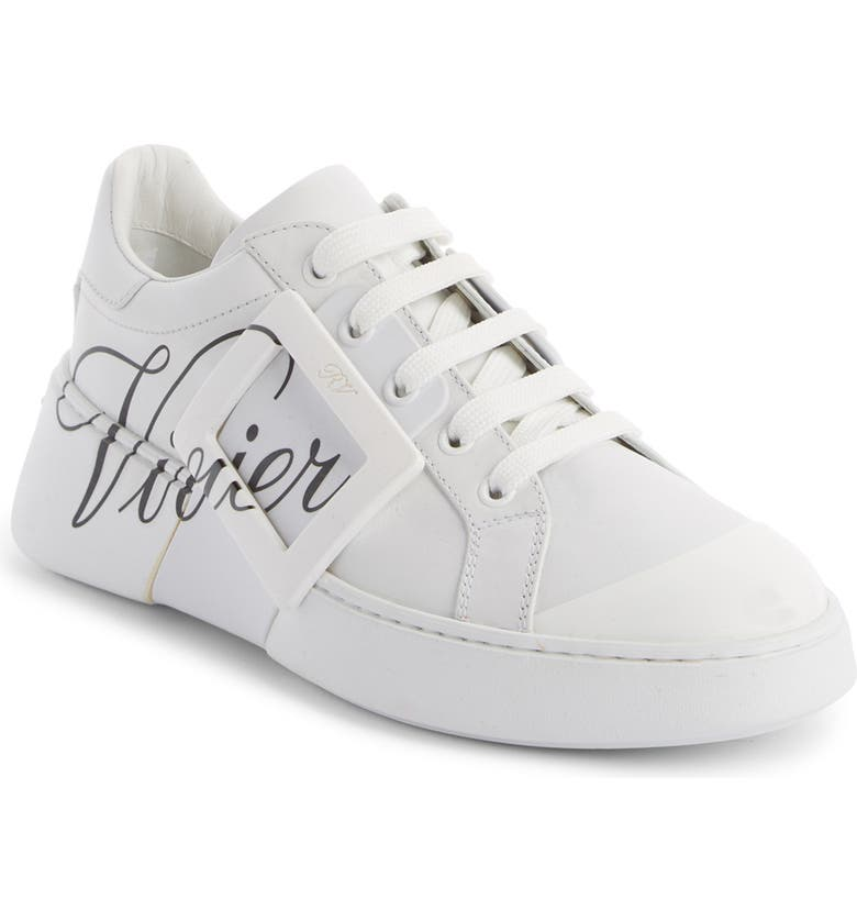 ROGER VIVIER Logo Lace-Up Skate Sneaker, Main, color, WHITE/ BLACK
