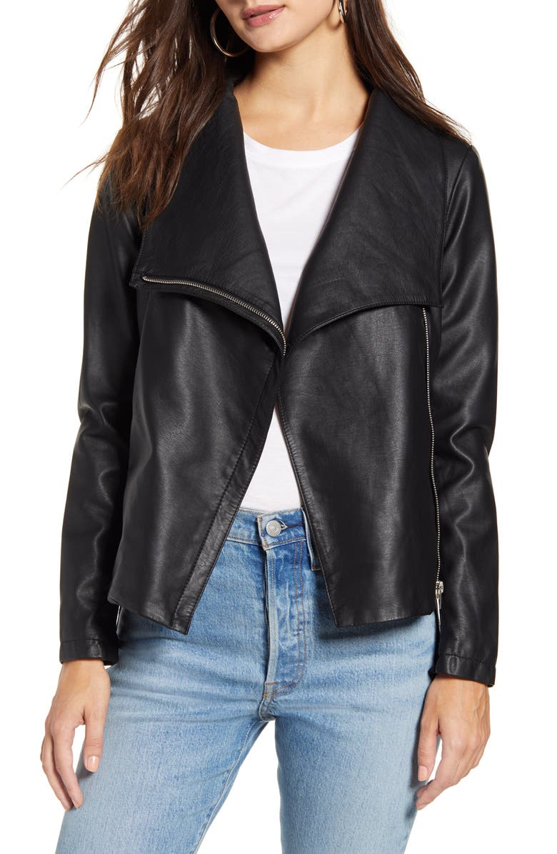 BB DAKOTA Up to Speed Faux Leather Moto Jacket, Main, color, BLACK