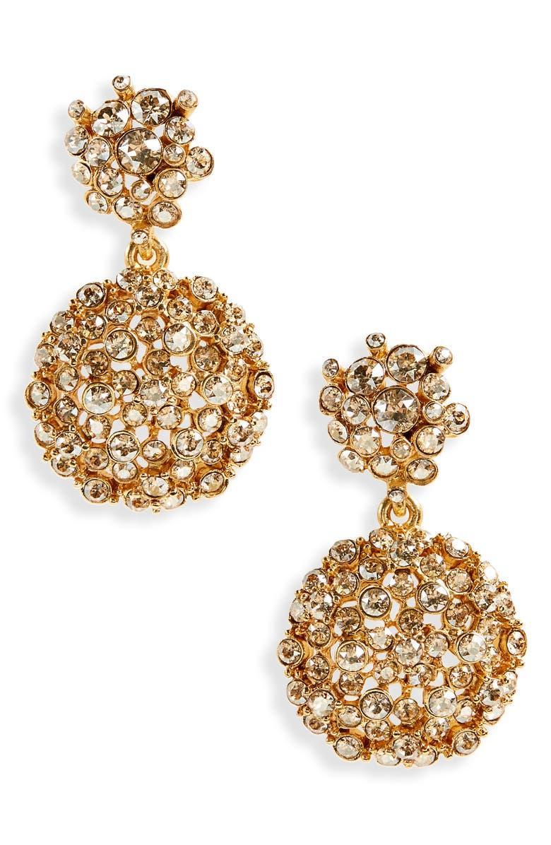 OSCAR DE LA RENTA Crystal Flower Drop Earrings, Main, color, 710