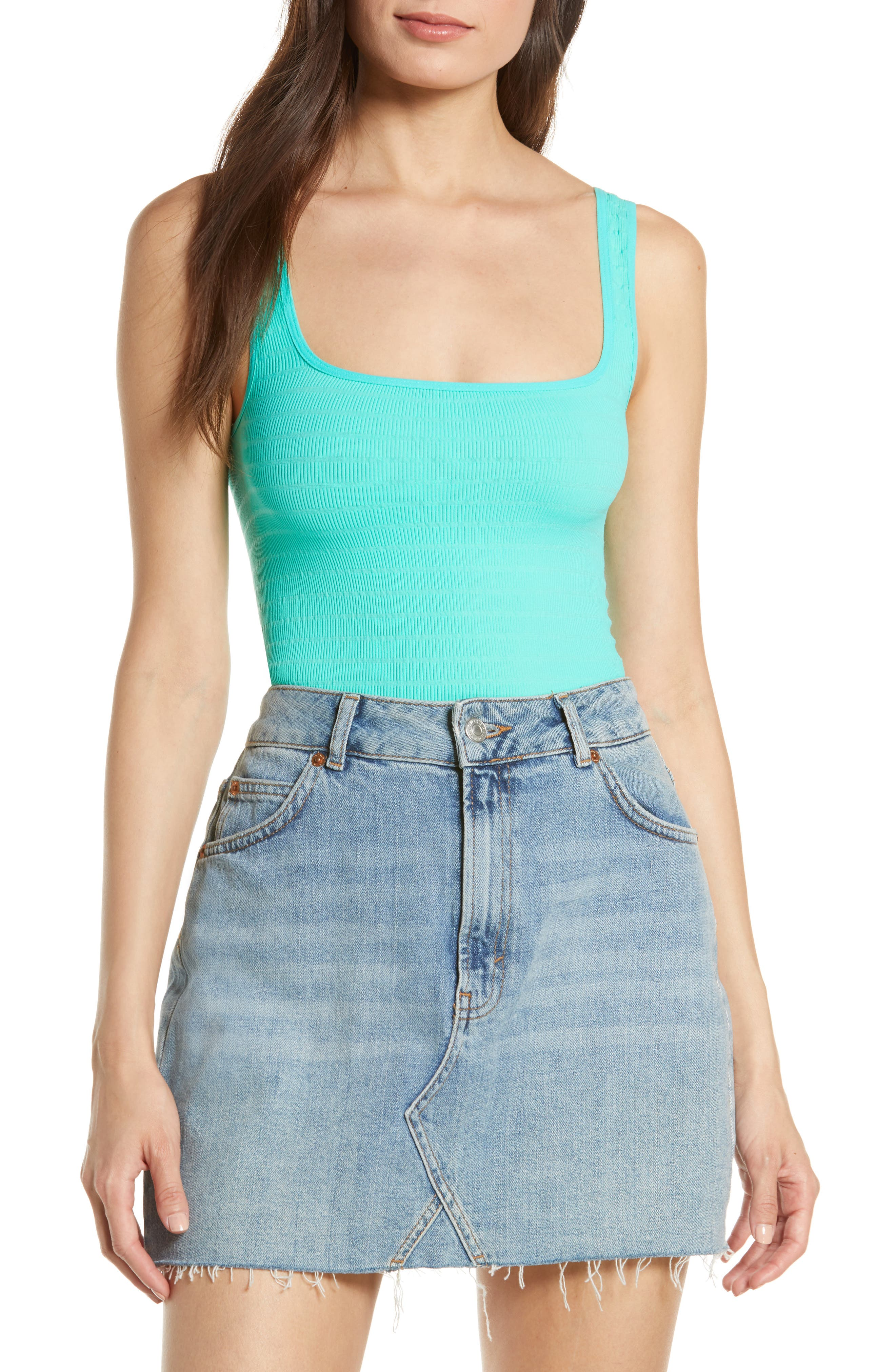 ,                             Intimately FP Square One Seamless Camisole,                             Alternate thumbnail 4, color,                             LT BLUE