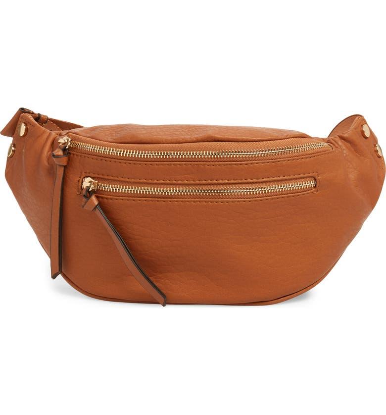 SOLE SOCIETY Garyn Faux Leather Belt Bag, Main, color, COGNAC