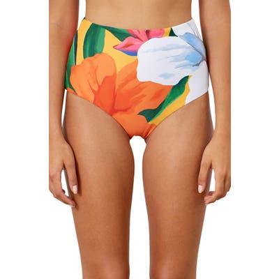 Mara Hoffman Lydia High Waist Bikini Bottoms, Pink