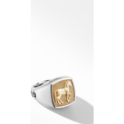 David Yurman Petrvs Horse Signet Ring With 18K Yellow Gold