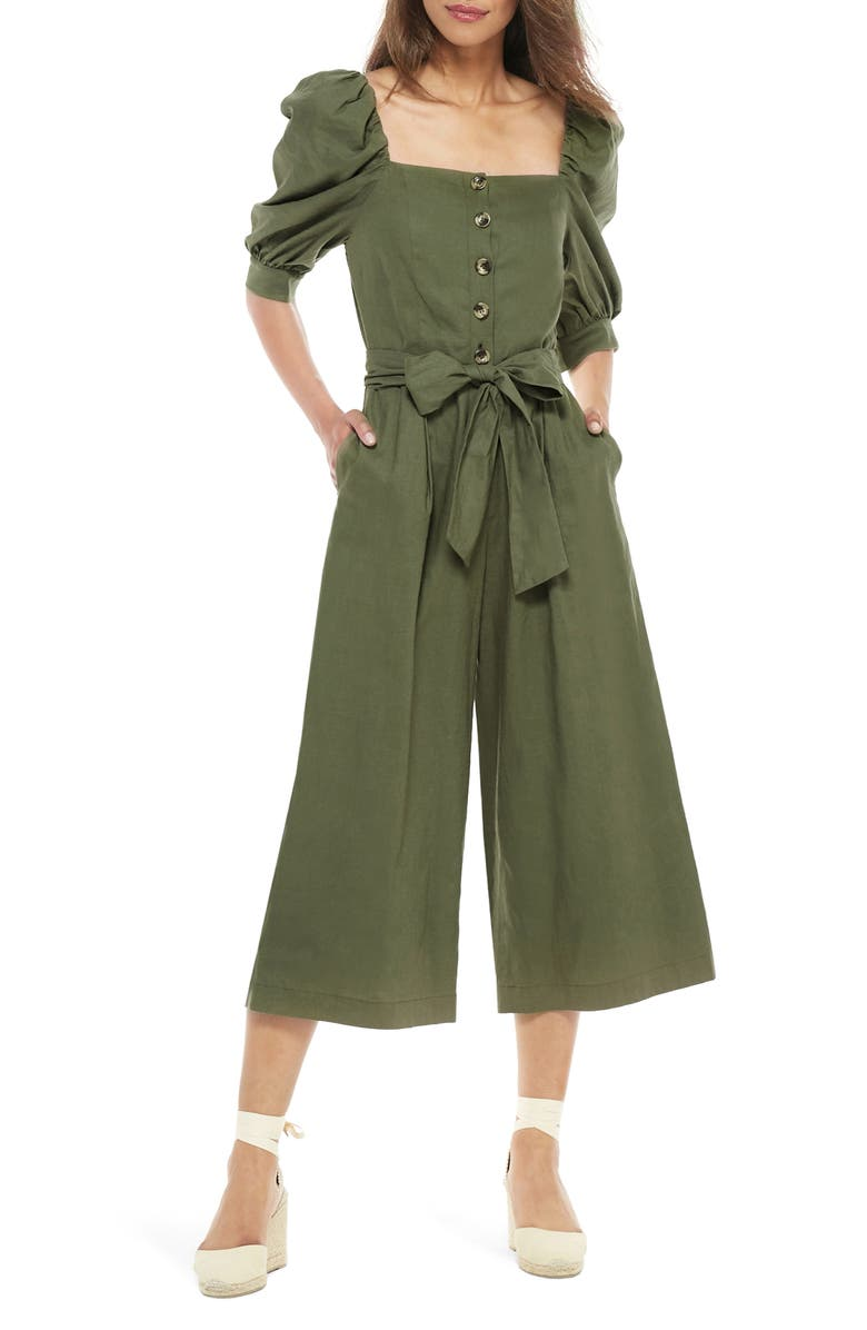 GAL MEETS GLAM COLLECTION Sylvie Puff Sleeve Linen Blend Jumpsuit, Main, color, FOREST FERN