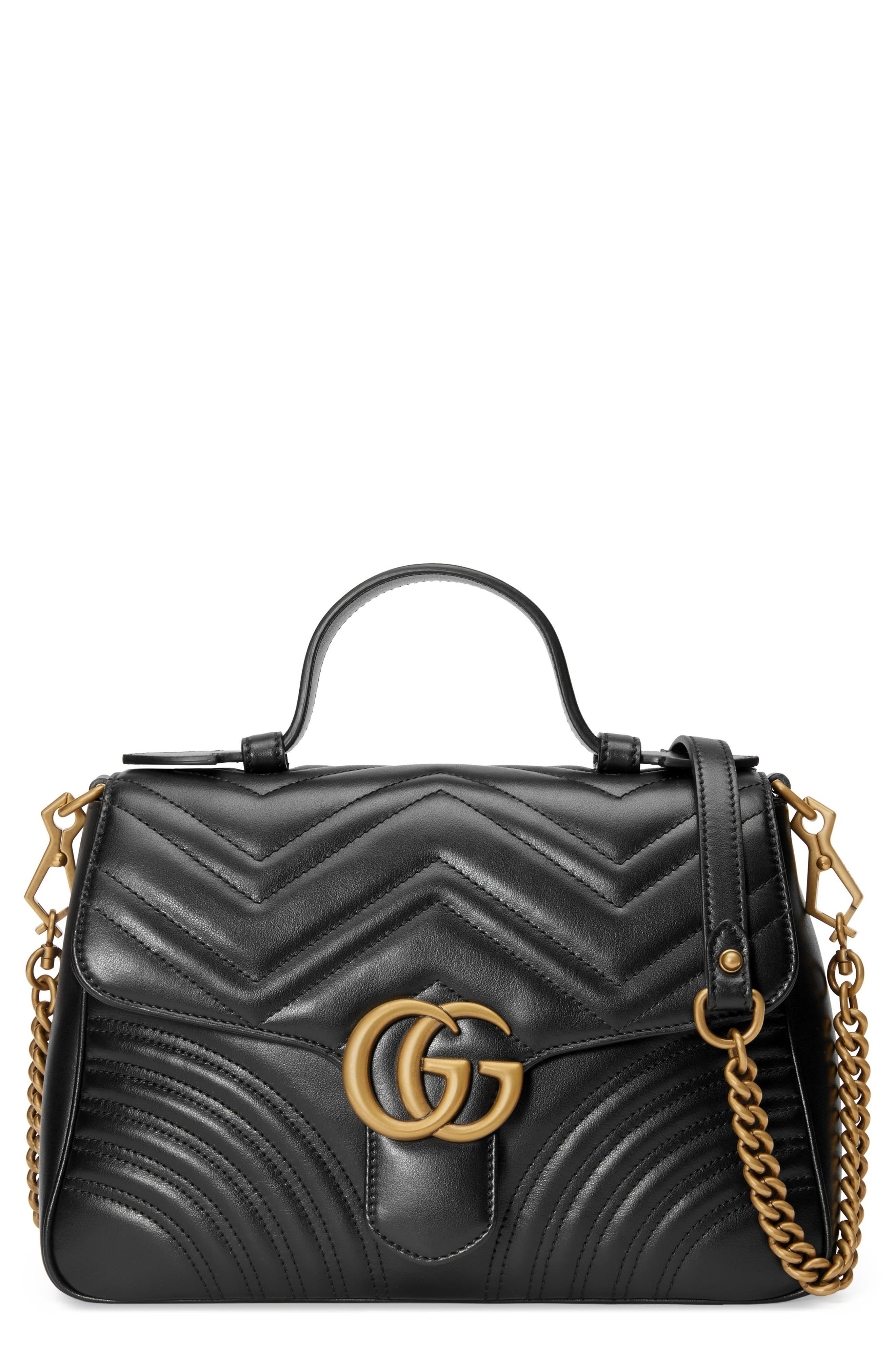 Small GG Marmont 2.0 Matelassé Leather Top Handle Bag, Main, color, NERO