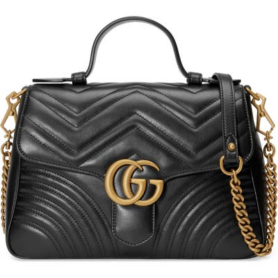 Gucci Small Matelasse Leather Top Handle Bag - Black