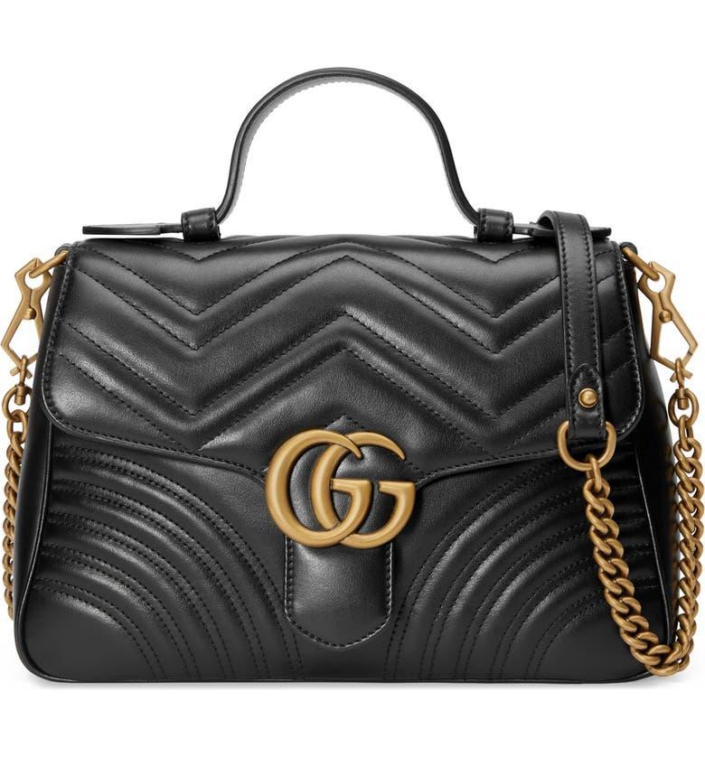 GUCCI Small GG Marmont 2.0 Matelassé Leather Top Handle Bag, Main, color, NERO