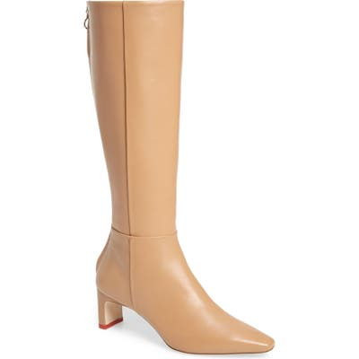 Aeyde Sidney Knee High Leather Boot, Beige