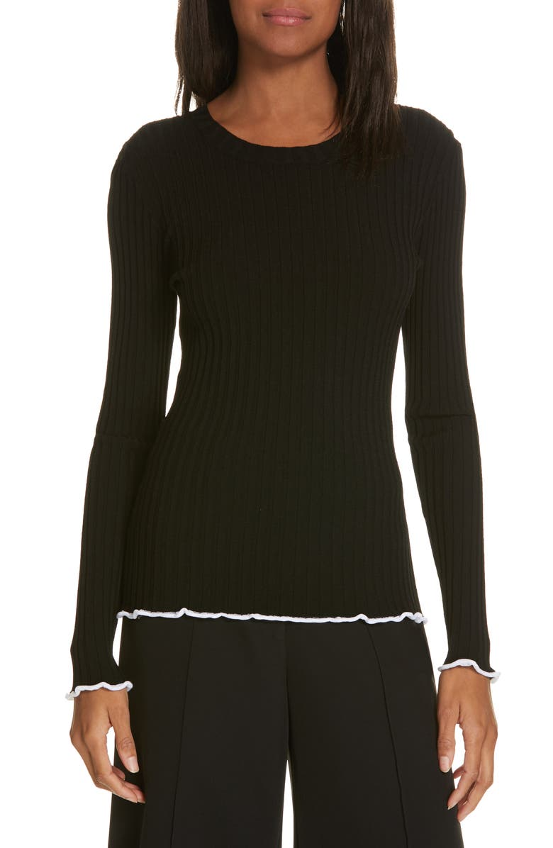 MILLY Contrast Edge Pullover Sweater, Main, color, 001