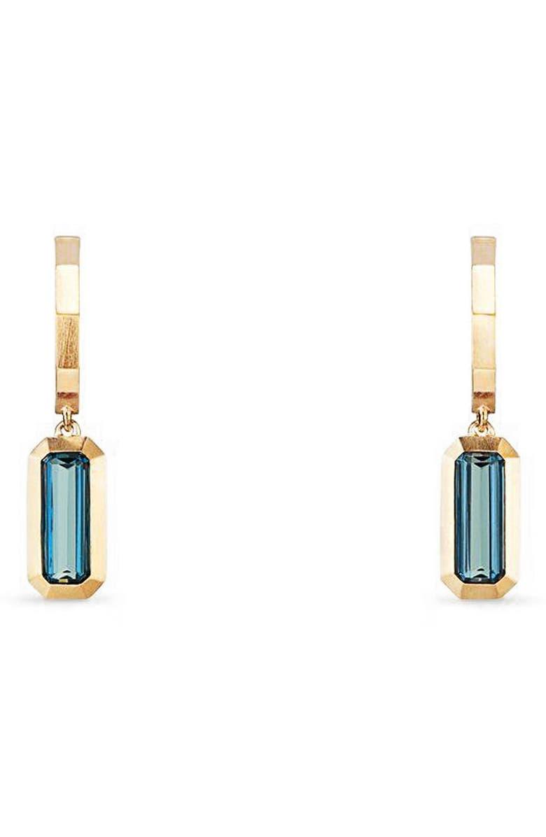 DAVID YURMAN Novella Hoop Earrings in 18K Gold, Main, color, GOLD/ HAMPTON BLUE TOPAZ