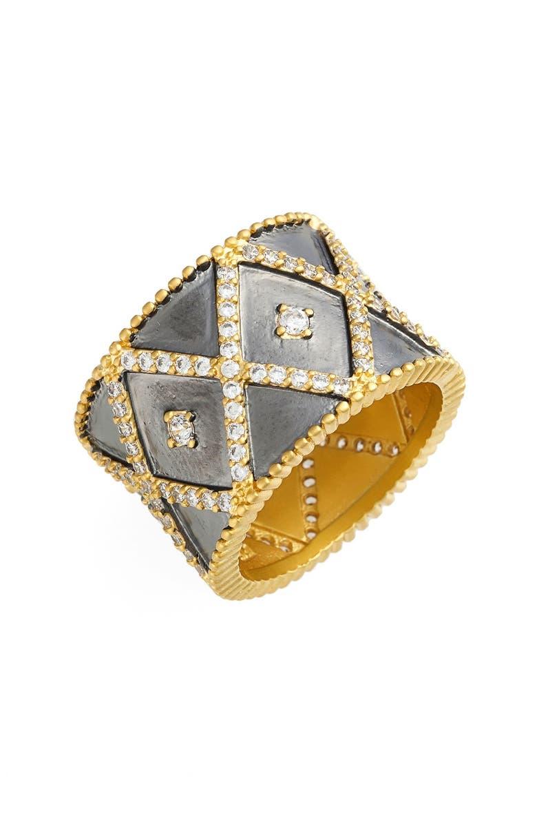 FREIDA ROTHMAN FreidaRothman'Cigar' Band Ring, Main, color, GOLD/ GUNMETAL/ CLEAR