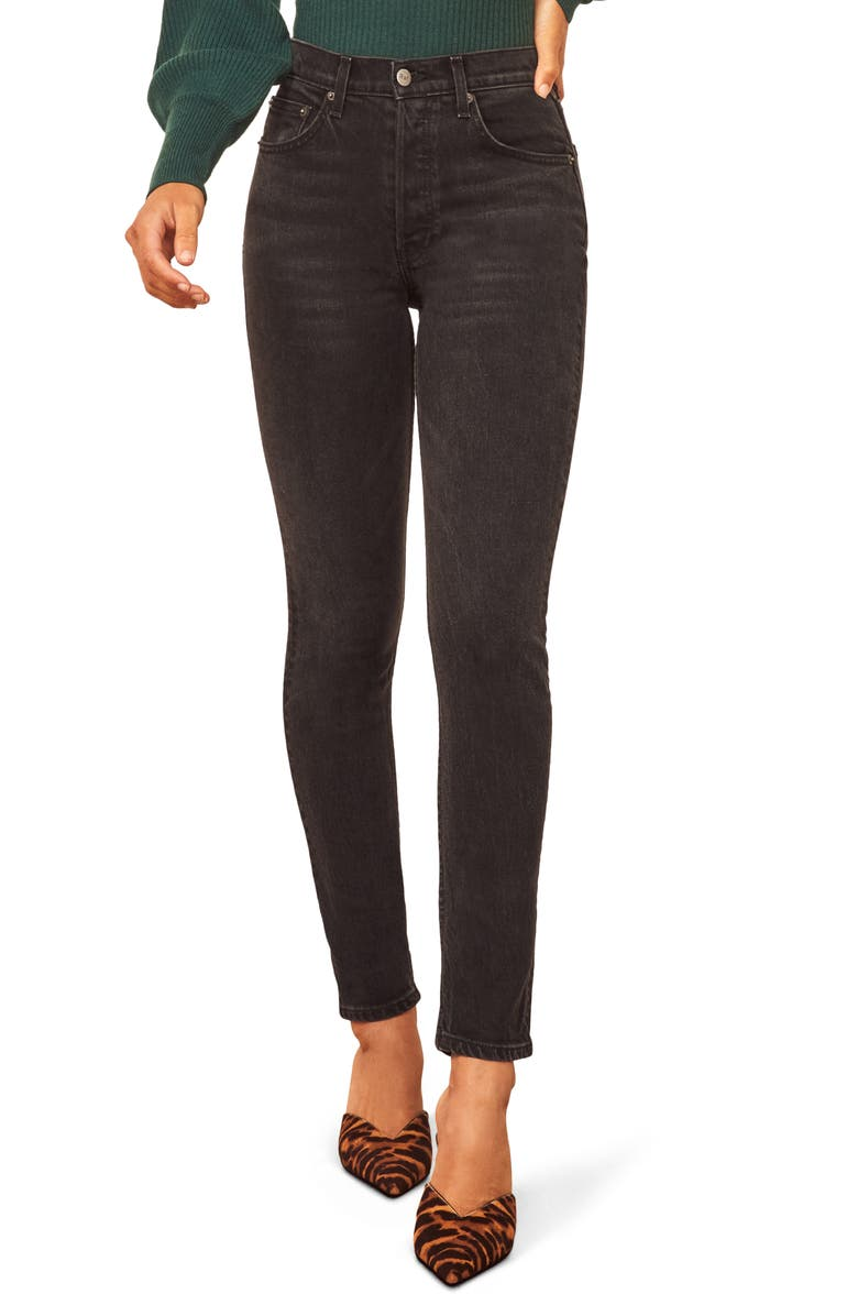REFORMATION Serena High Waist Skinny Jeans, Main, color, ERIE