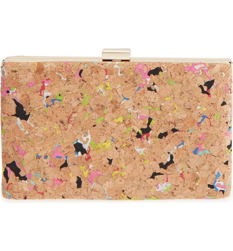 NORDSTROM Rainbow Fleck Cork Minaudière, Main, color, 420