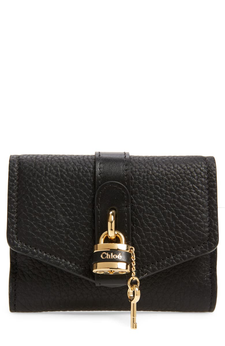 CHLOÉ Aby Calfskin Leather French Wallet, Main, color, BLACK