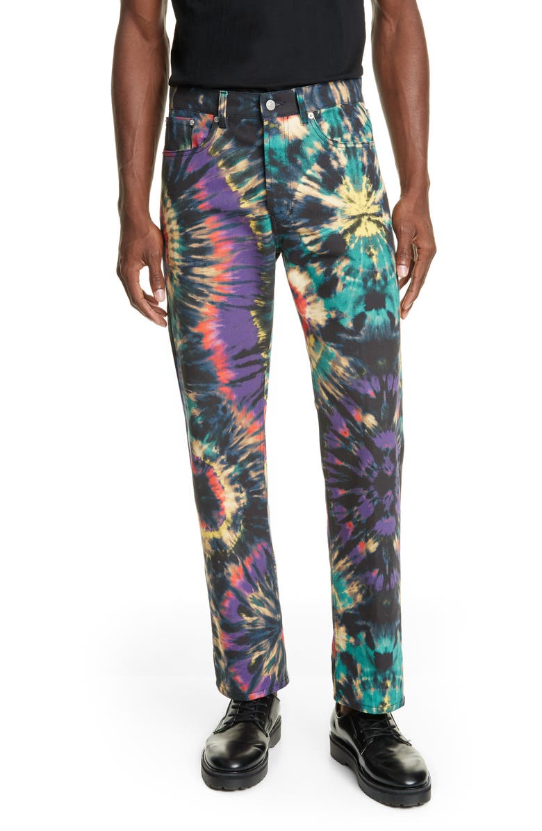 DRIES VAN NOTEN Tie Dye Jeans, Main, color, PETROL