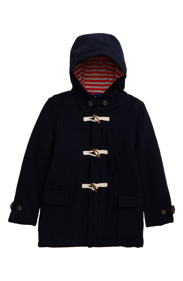 MINI BODEN Wool Duffle Coat, Main, color, NAVY
