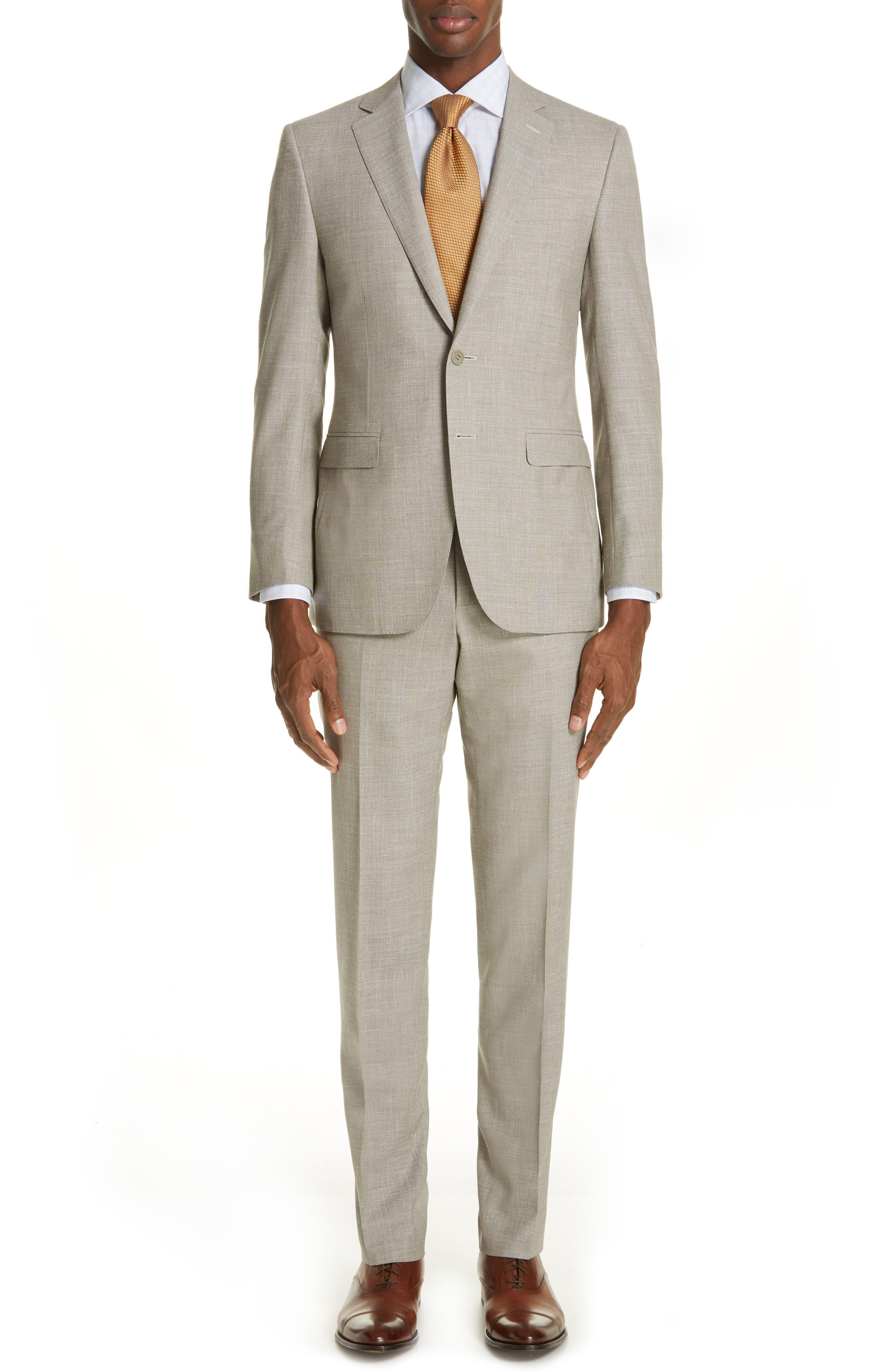 Milano Trim Fit Solid Wool Blend Suit, Main, color, BEIGE