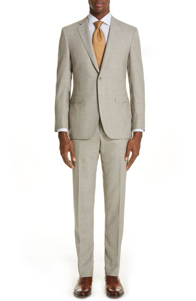 CANALI Milano Trim Fit Solid Wool Blend Suit, Main, color, 250