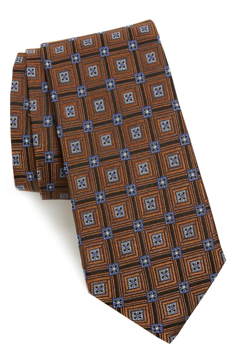 NORDSTROM MEN'S SHOP Parkside Grid Silk Tie, Main, color, 200
