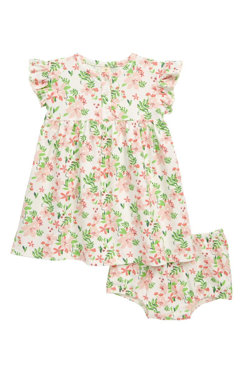 TUCKER + TATE Flutter Sleeve Dress, Main, color, IVORY EGRET POOLSIDE FLORAL