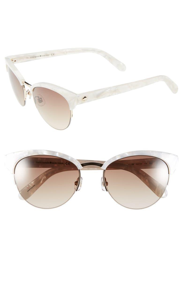 KATE SPADE NEW YORK 53mm cat eye sunglasses, Main, color, 100