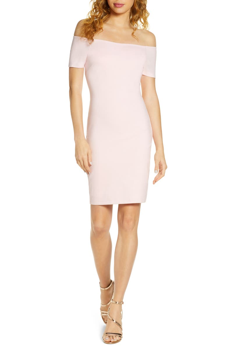 LULUS Me Oh My Off the Shoulder Body-Con Cocktail Dress, Main, color, BLUSH