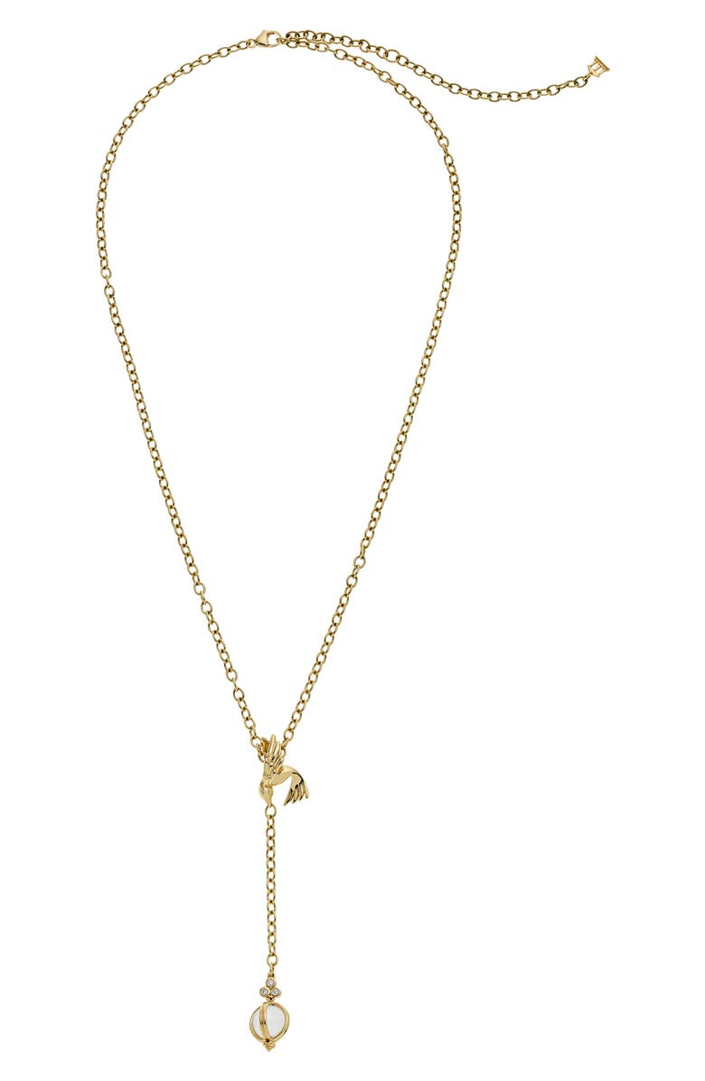 TEMPLE ST CLAIR Temple St. Clair Crystal Diamond Bird Y-Necklace, Main, color, YELLOW GOLD