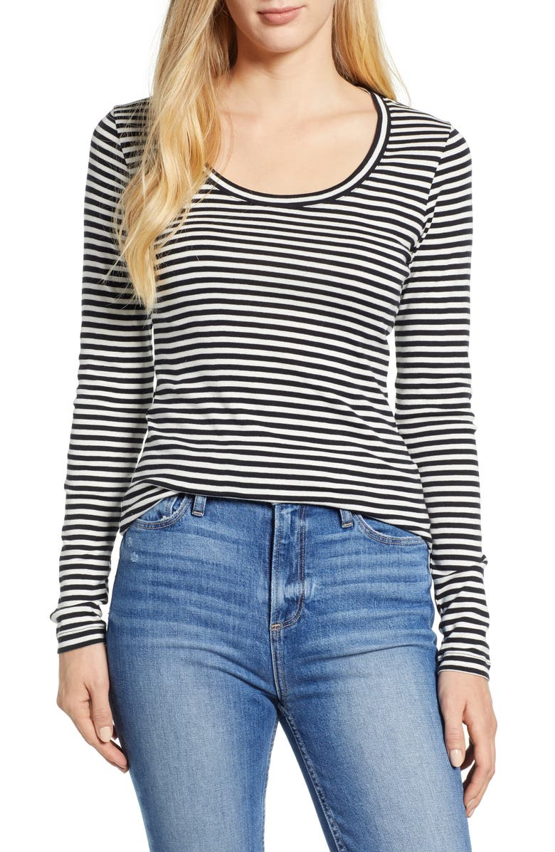 CASLON<SUP>®</SUP> 'Melody' Long Sleeve Scoop Neck Tee, Main, color, IVORY- BLACK EVEN STRIPE