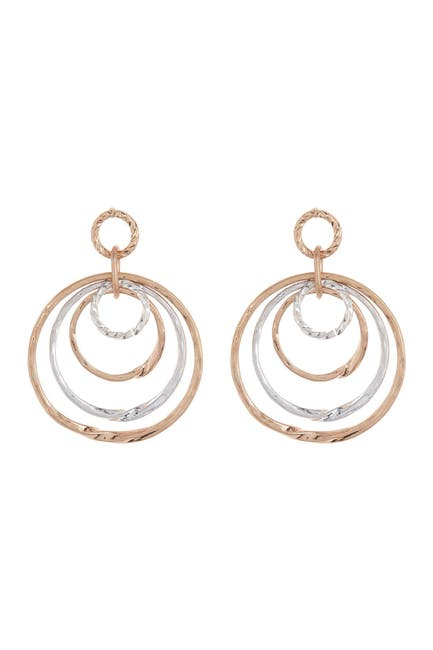 Image of AREA STARS Round Two Tone Drop Earrings