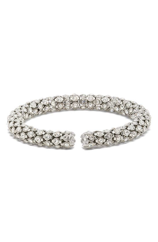 Kate Spade Adore-ables Pave Flex Cuff Bracelet In Silvr Base/clear Stone