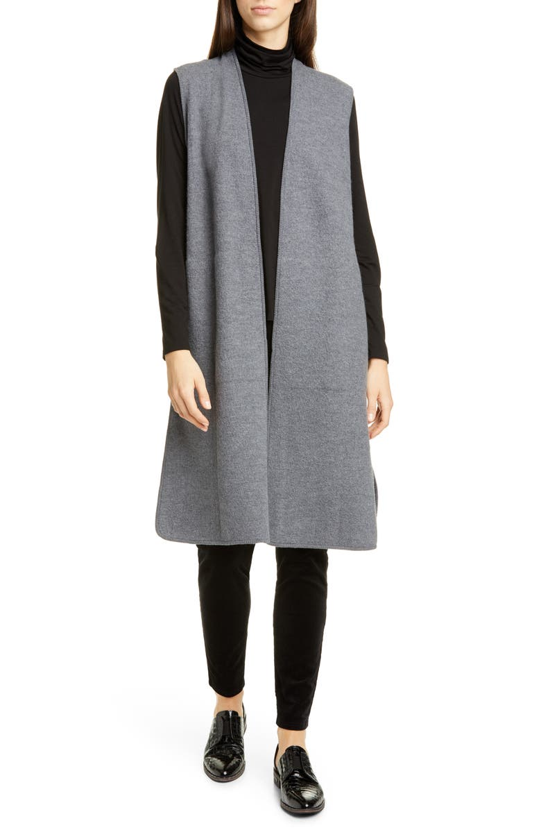 EILEEN FISHER Wool Duster Vest, Main, color, ASH