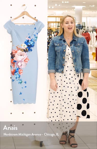 Raspberry Ripple Floral Scallop Off the Shoulder Dress, sales video thumbnail
