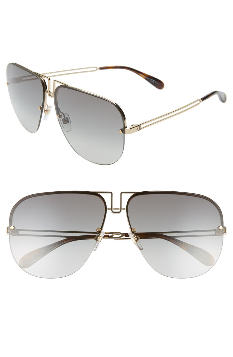 GIVENCHY 64mm Oversize Aviator Sunglasses, Main, color, GOLD/ GREY