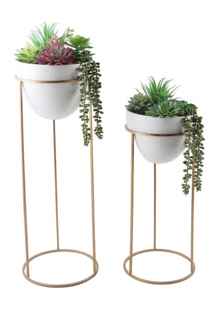 "Image of FLORA BUNDA 36"" & 29"" Succulent Mix in Ceramic Pot on Metal Stand - Set of 2"