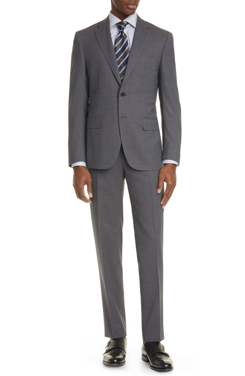 CANALI Siena Soft Classic Fit Houndstooth Wool Suit, Main, color, BROWN