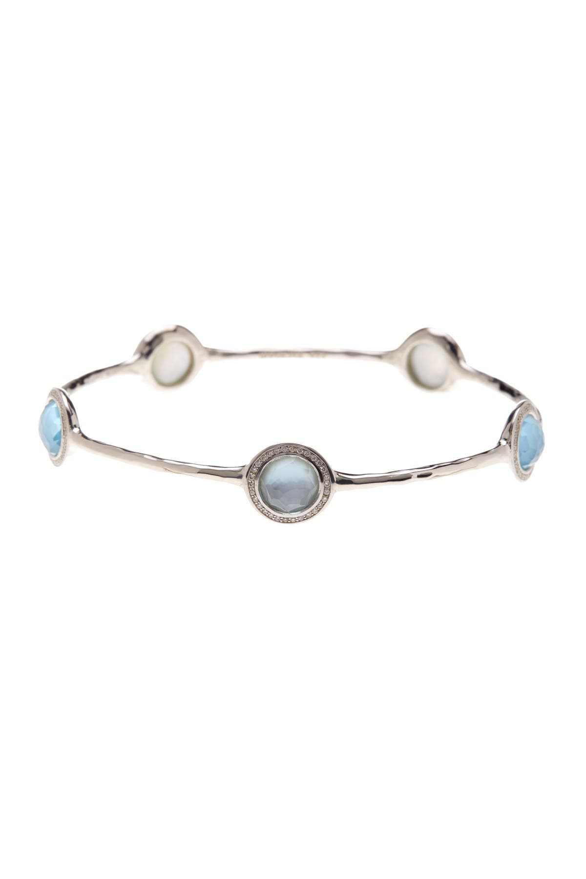 Image of Ippolita Lollipop Swiss Blue Topaz & Halo Set Diamond Station Bangle