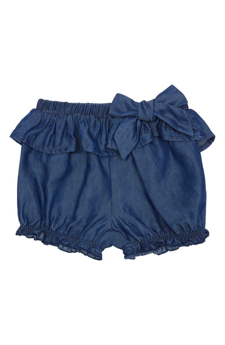 HABITUAL Rhyan Tie Front Denim Shorts, Main, color, DARK STONE