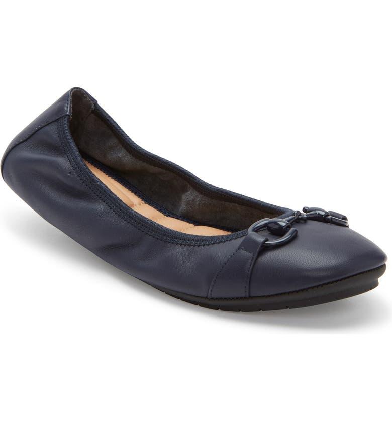 ME TOO 'Legend 2.0' Ballet Flat, Main, color, DARK BLUE LEATHER