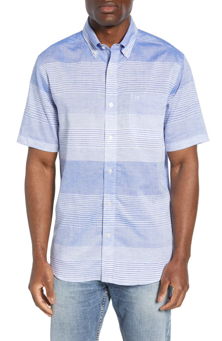 SOUTHERN TIDE Regular Fit Short Sleeve Button-Down Shirt, Main, color, 435