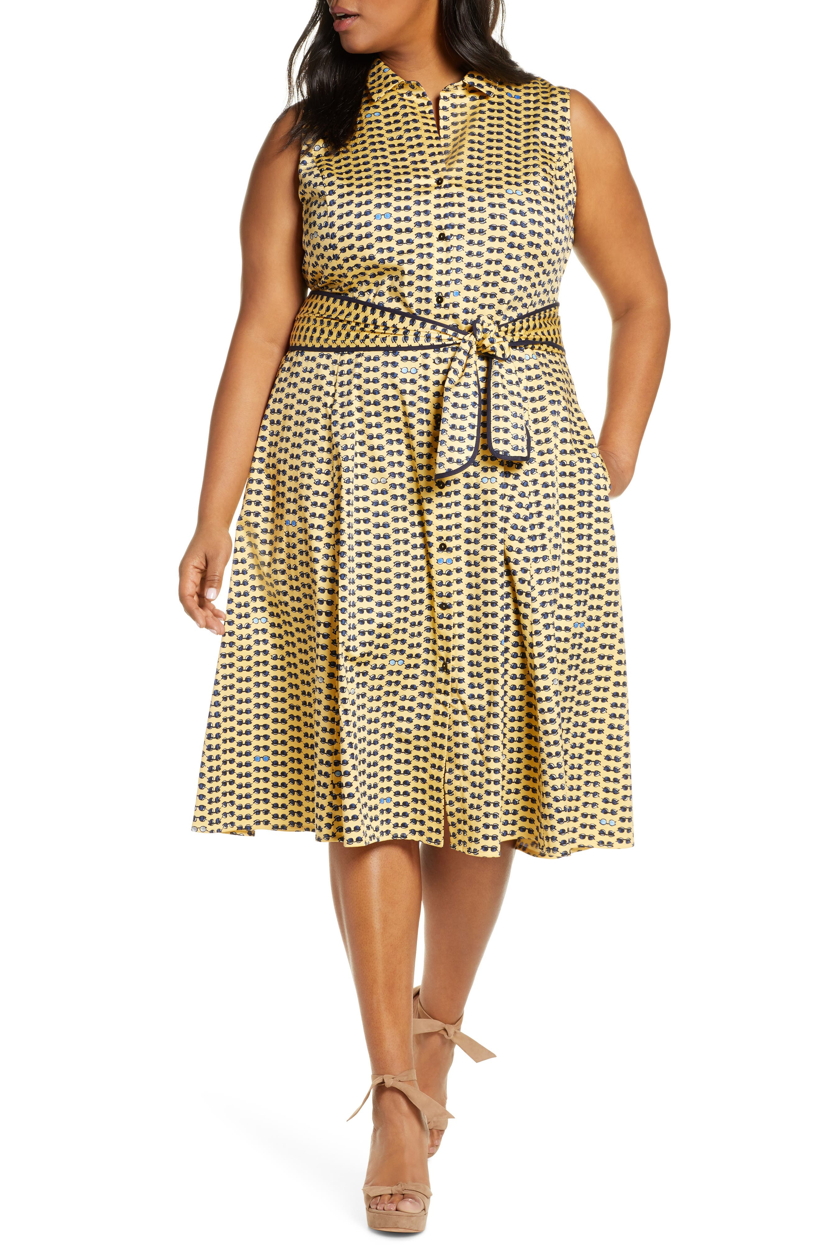 Plus Size Nic+Zoe Sunnies Sleeveless Shirtdress, Yellow