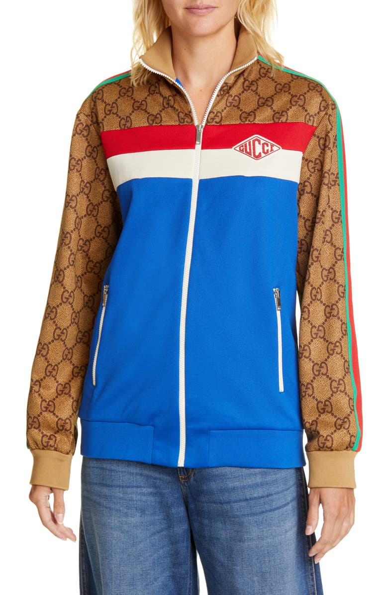 GUCCI GG Print Technical Jersey Track Jacket, Main, color, COBALT/ MULTICOLOR